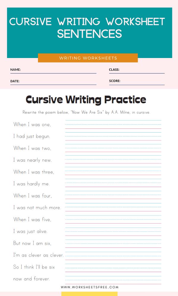 Cursive Writing Worksheet - Sentences