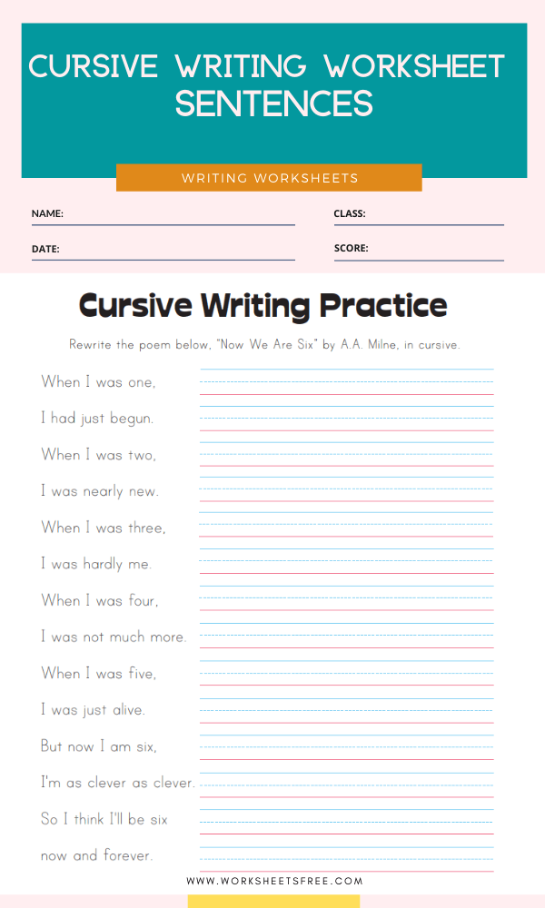 Cursive Writing Worksheet - Sentences