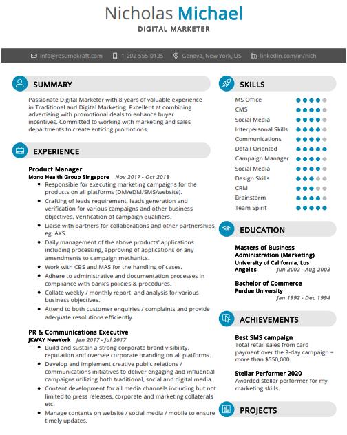 Digital Marketer Resume Sample 2