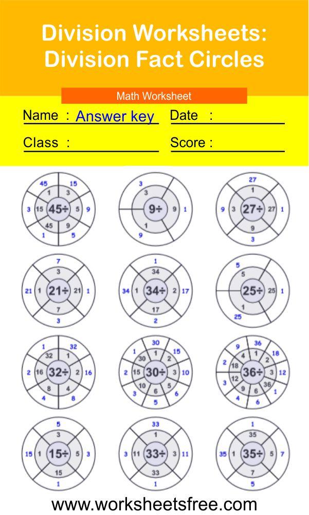 Division Worksheets-Division Fact Circles 2