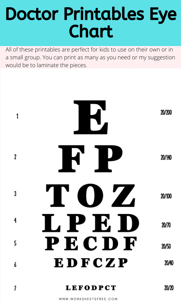 Doctor Printables Eye Chart Worksheets