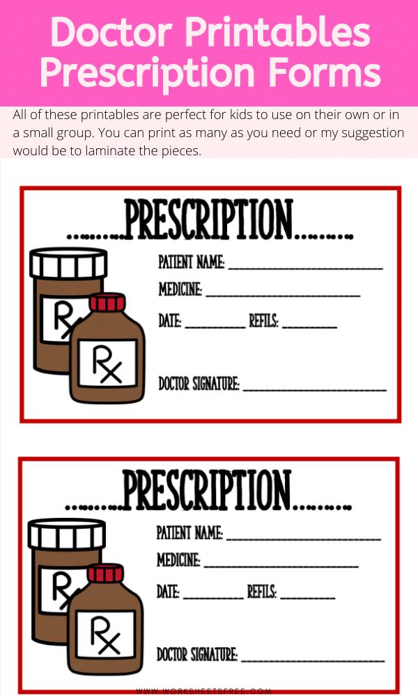 Doctor Printables Prescription Forms Worksheets