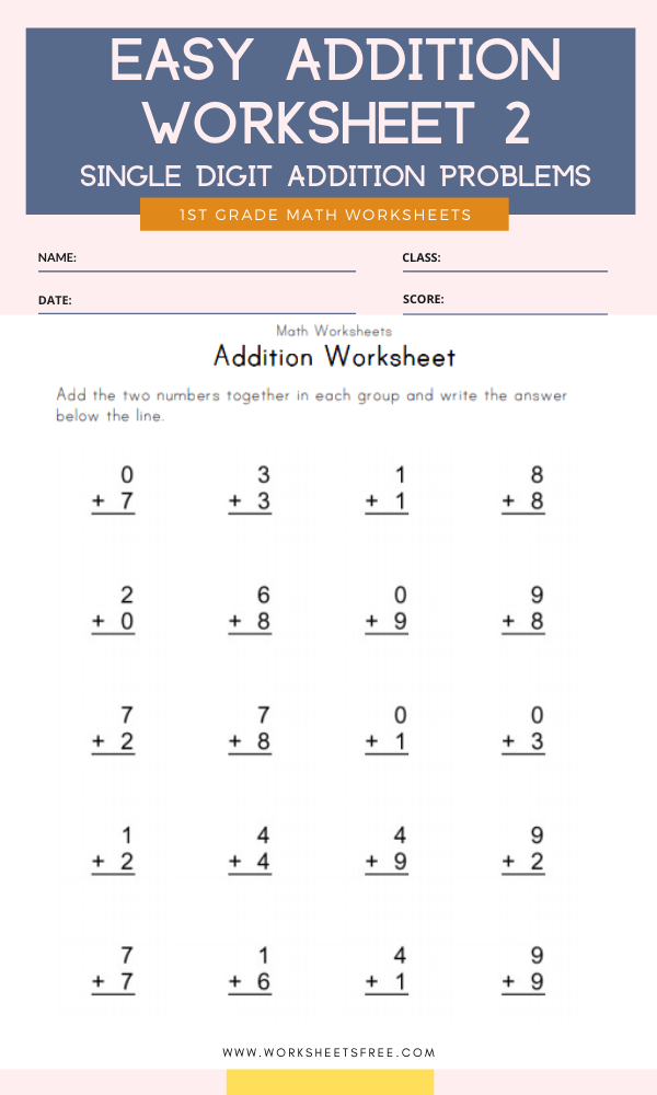 Easy Addition Worksheet 2 Grade 1 Single Digit Addition Problems