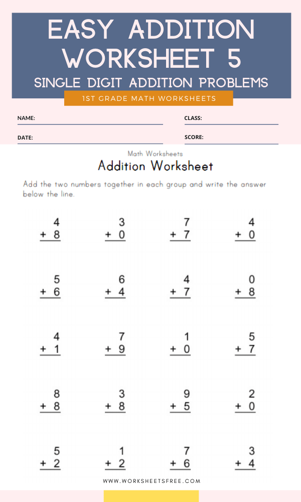 Easy Addition Worksheet 5 Grade 1 Single Digit Addition Problems