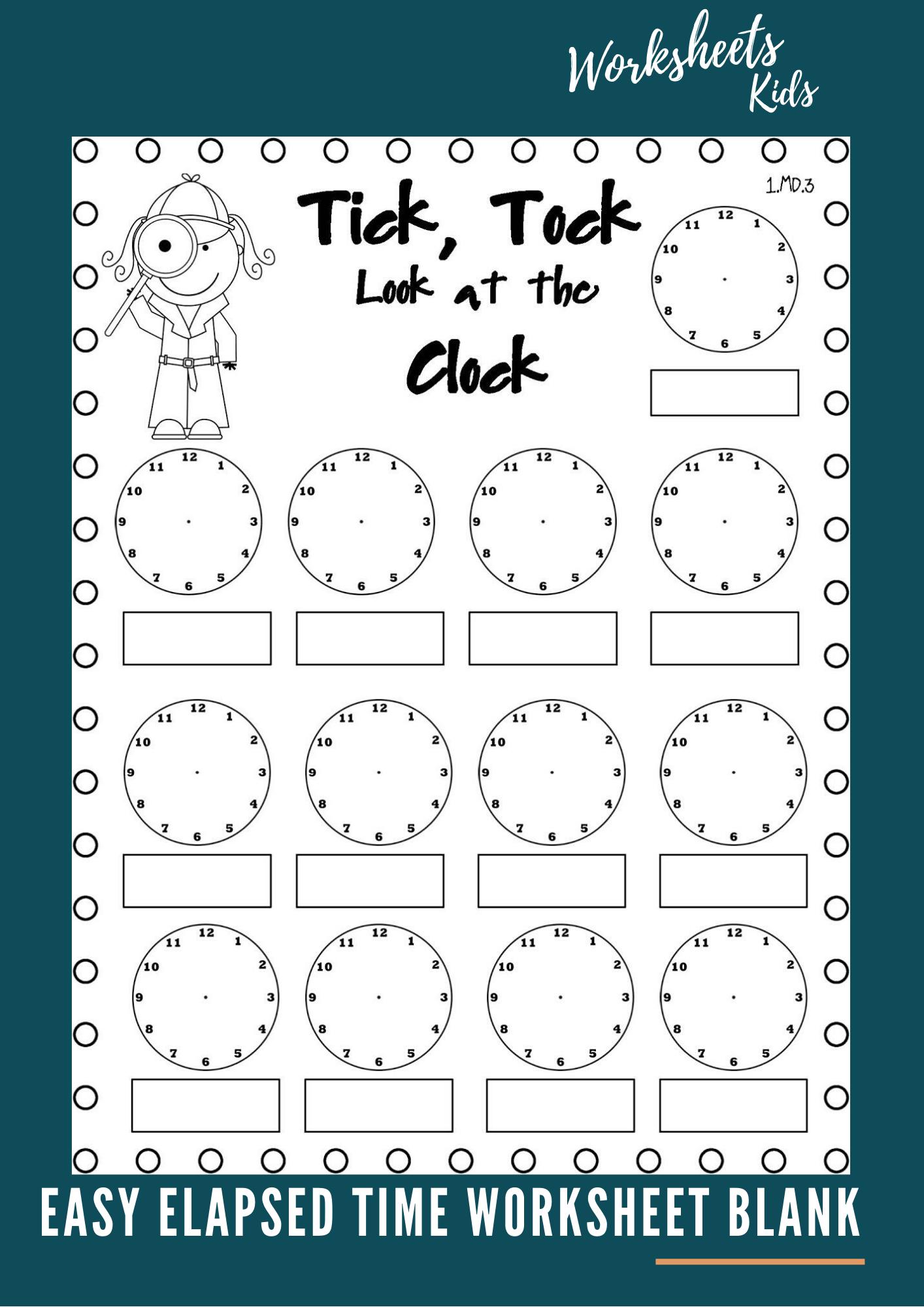 Easy Elapsed Time Worksheet Blank