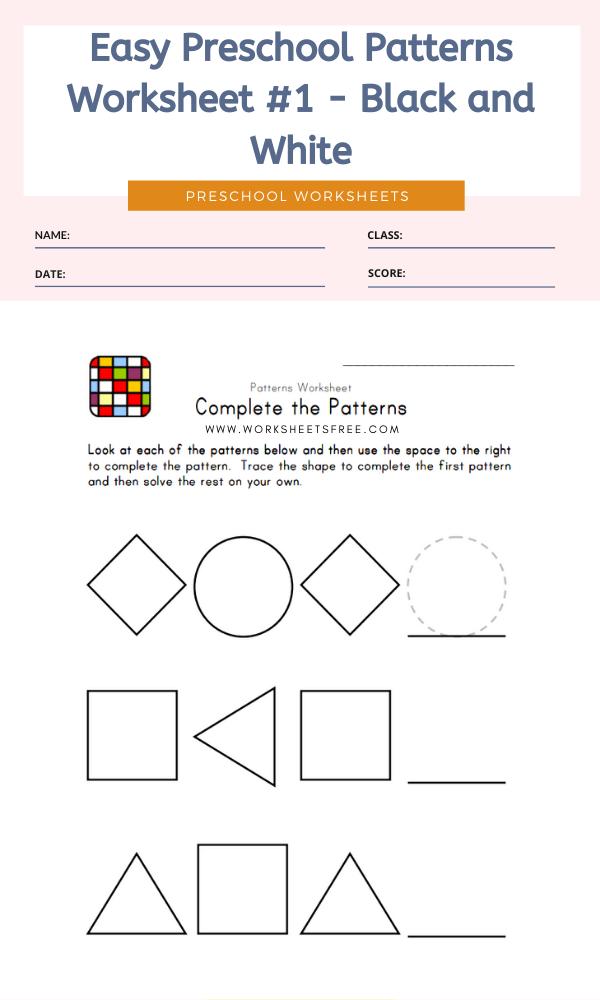 Easy Preschool Patterns Worksheet #1 - Black and White