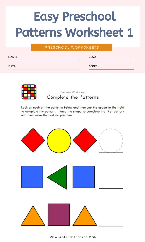 Easy Preschool Patterns Worksheet #1