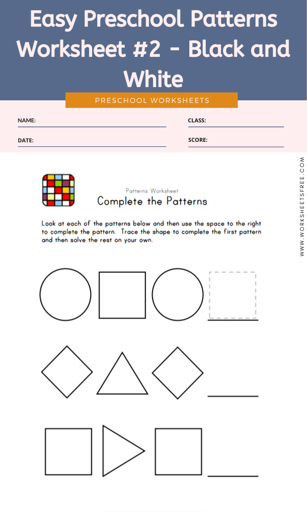 Easy Preschool Patterns Worksheet #2 - Black and White