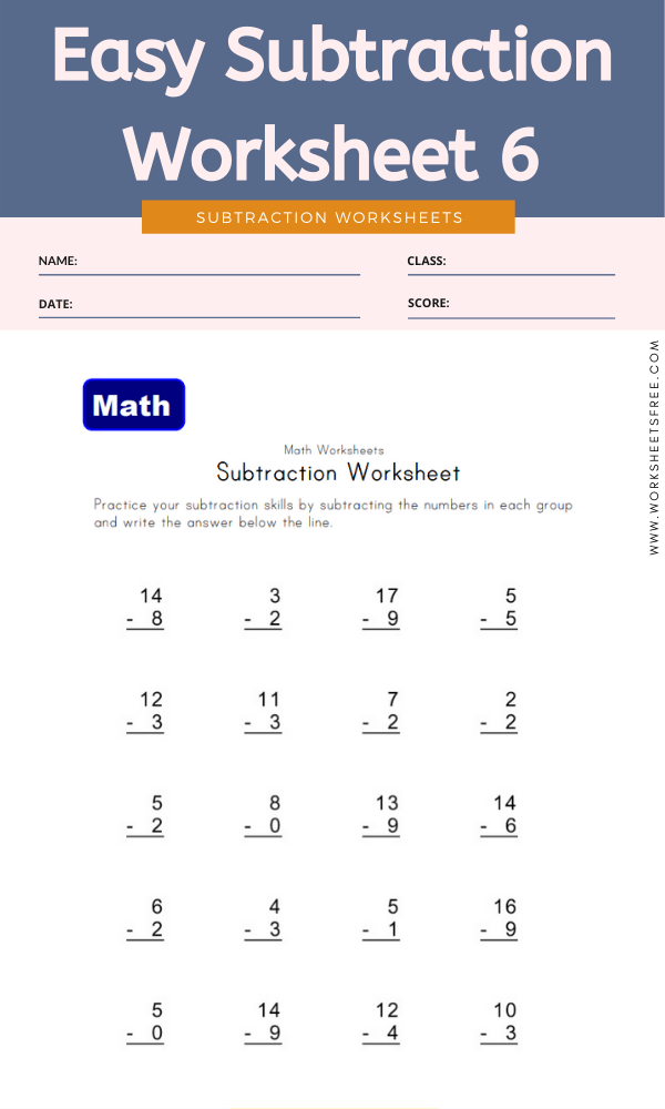 Easy Subtraction Worksheet 6 - Math Worksheets