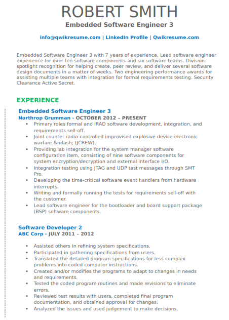 Embedded Software Engineer Resume Sample 3