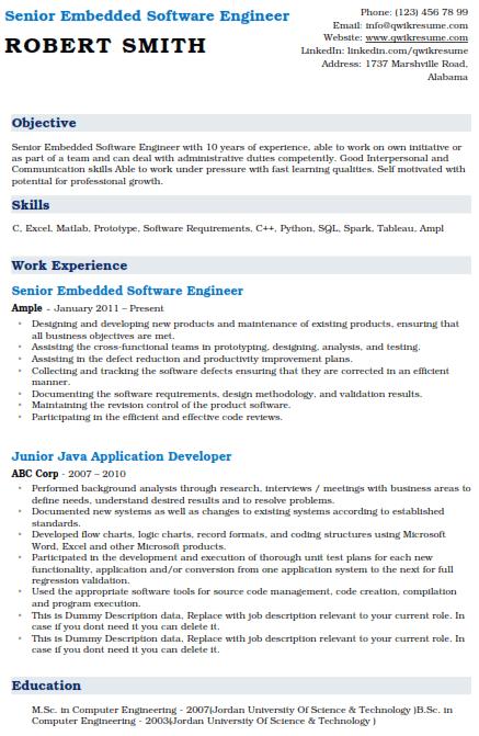 Embedded Software Engineer Resume Sample 5
