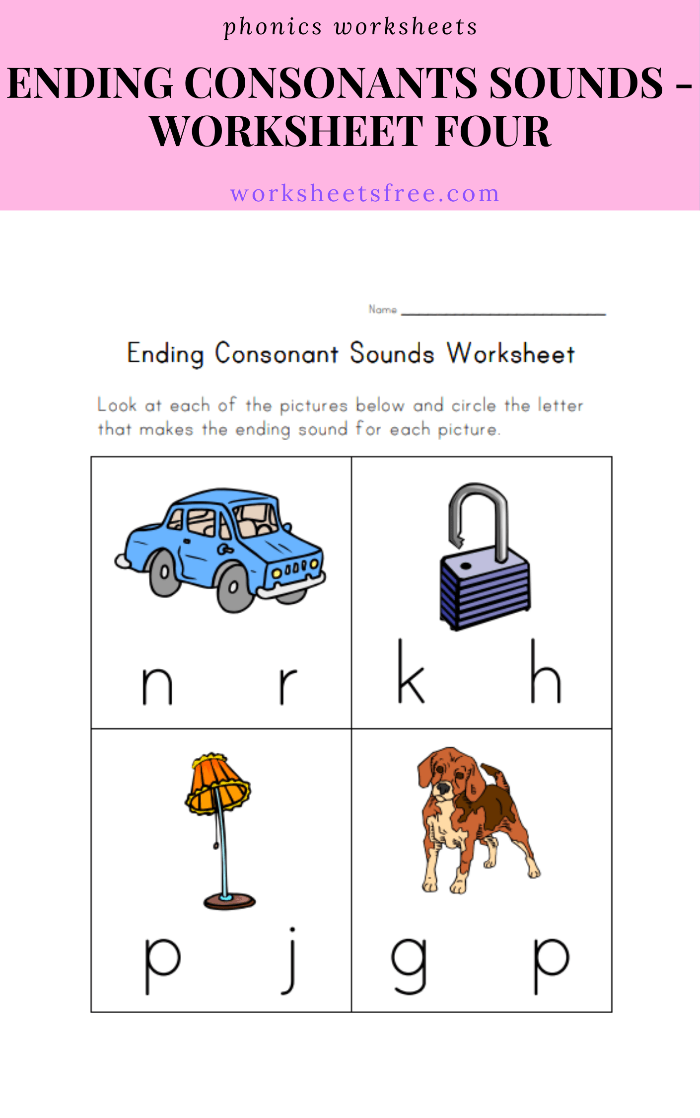 Ending Consonants Sounds Worksheet Four