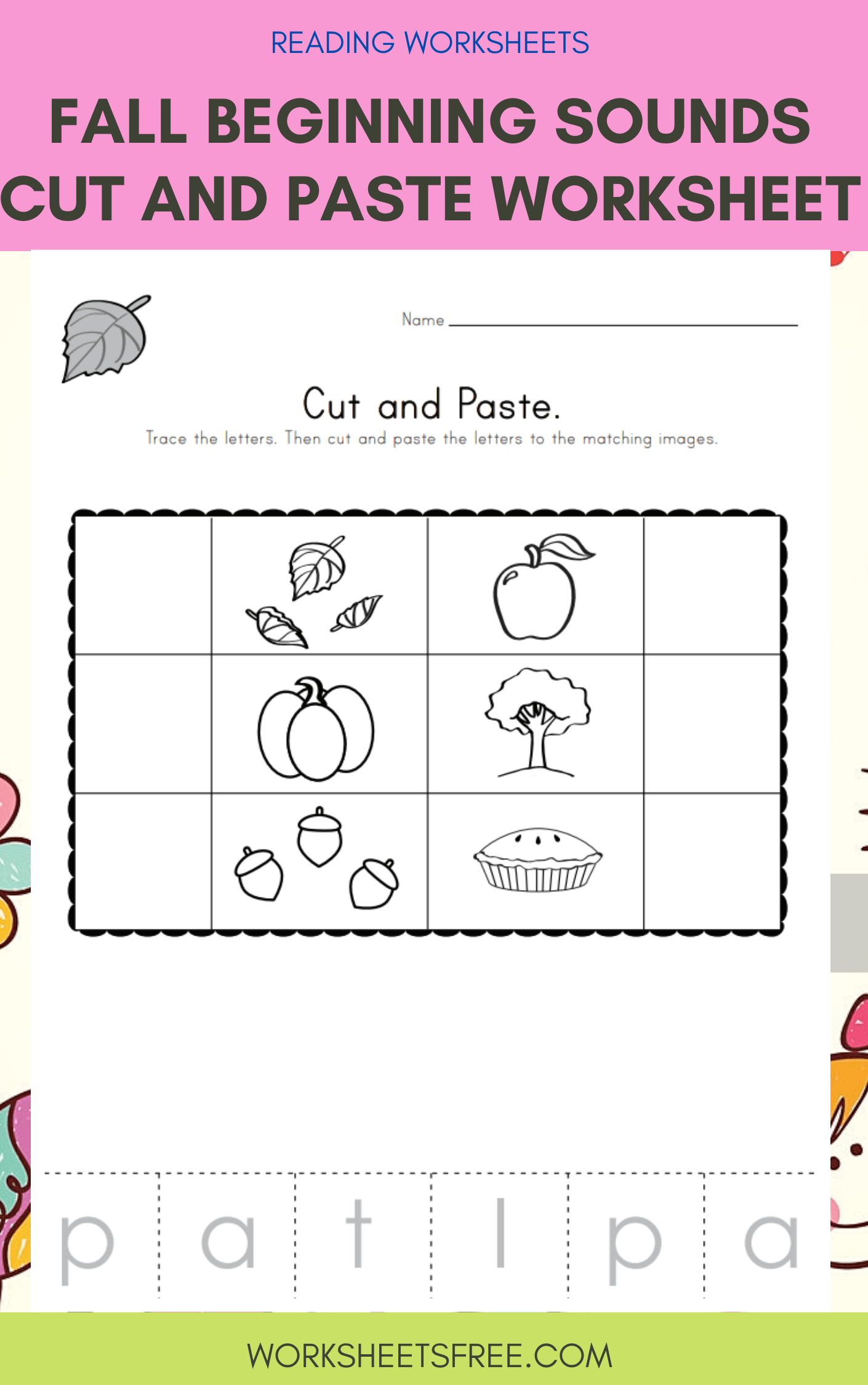 Fall Beginning Sounds Cut And Paste Worksheet
