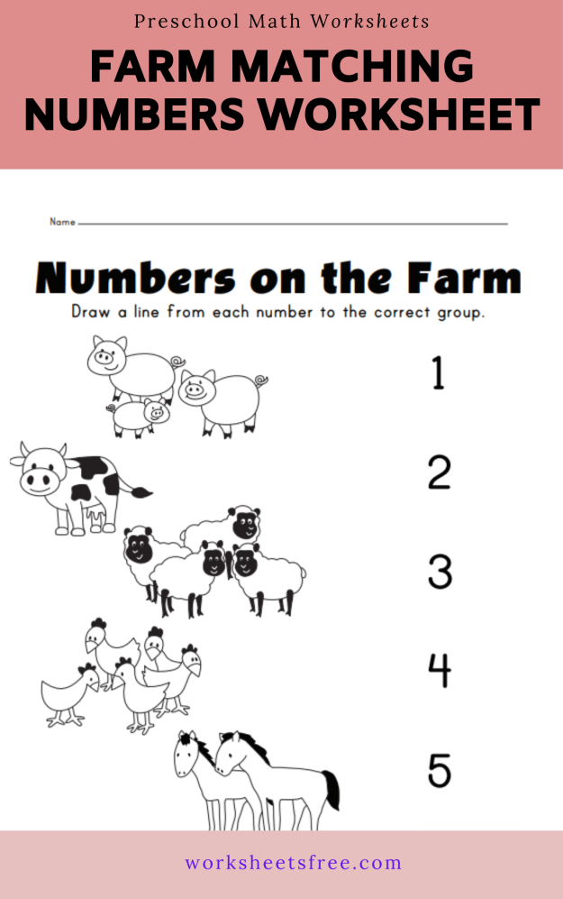 Farm matching numbers worksheet