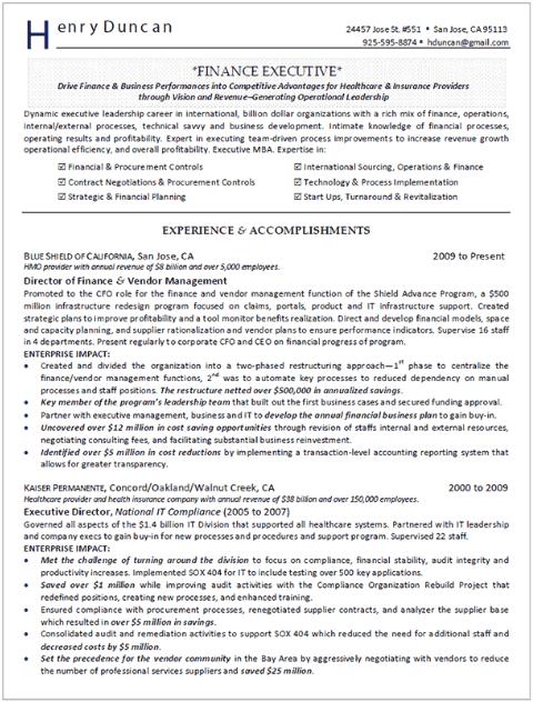 Finance Director Resume Sample 2