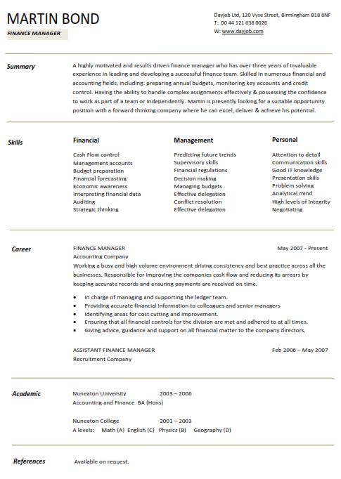 Finance Manager Resume Sample 2