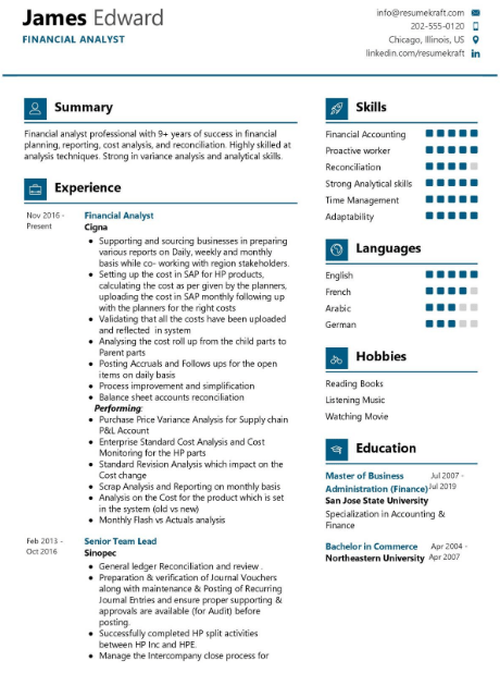 Financial Analyst Resume Sample 4