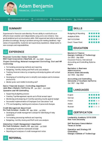 Financial Controller Resume Sample 3