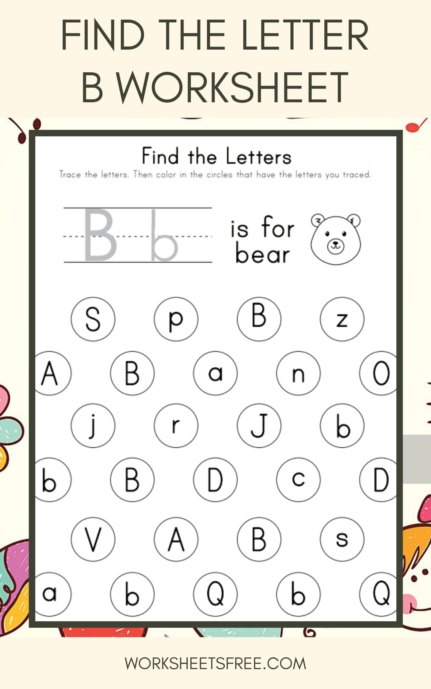 Find The Letter B Worksheet