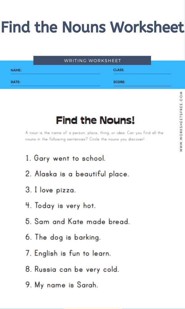 Find the Nouns Worksheet