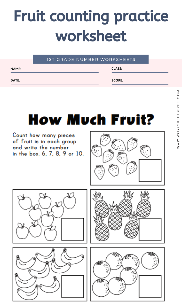 Fruit counting practice worksheet
