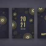 Golden new year 2021 cards Free Vector