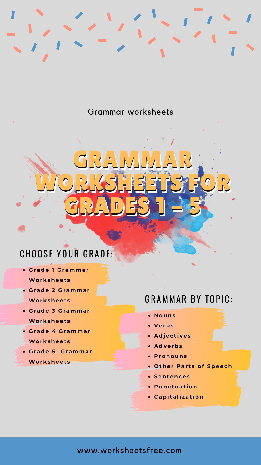 Grammar Worksheets For Grades 1 – 5 : Grammar Worksheets Worksheets Free