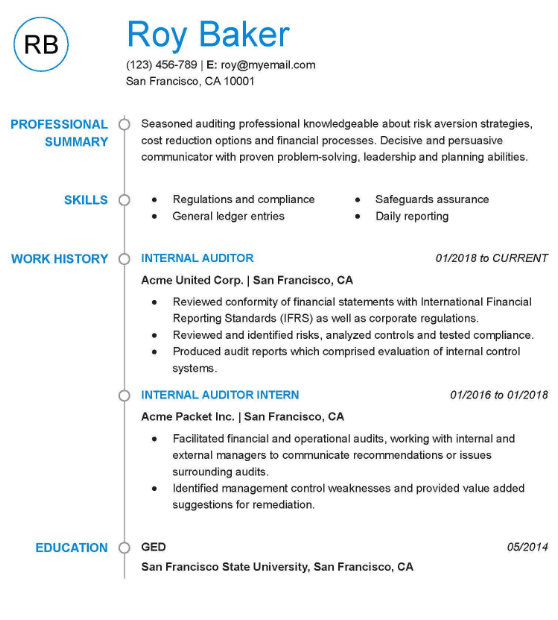 Group Internal Auditor Resume Sample 2