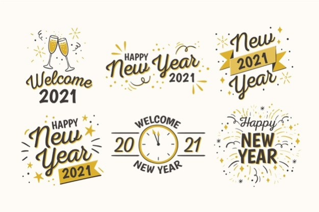 Hand drawn new year badge collection Free Vector