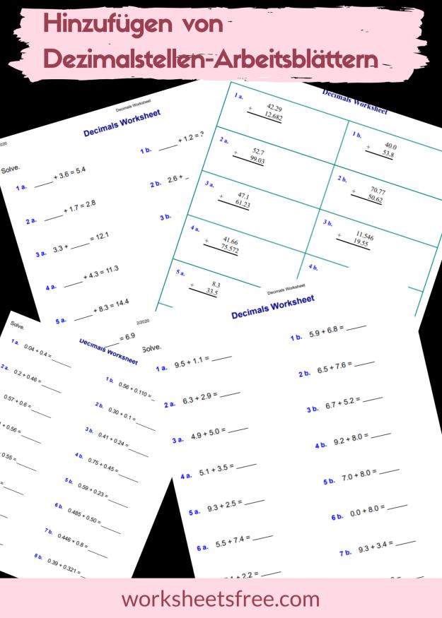Hinzufügen von Dezimalstellen-Arbeitsblättern