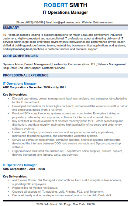 IT Operations Manager Resume Sample 2