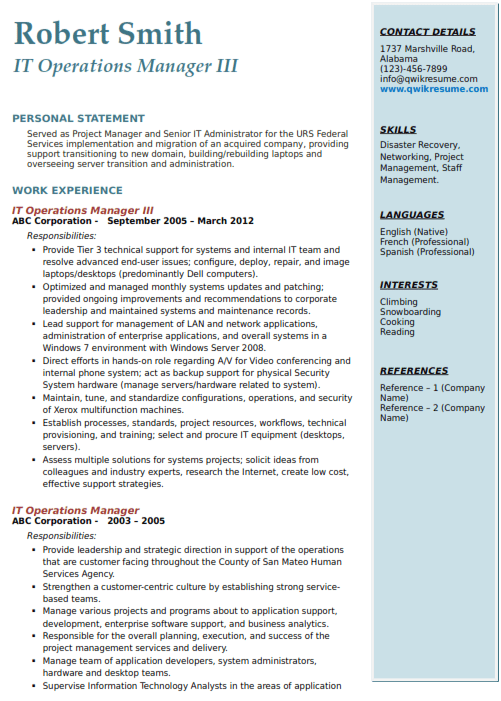 IT Operations Manager Resume Sample 3