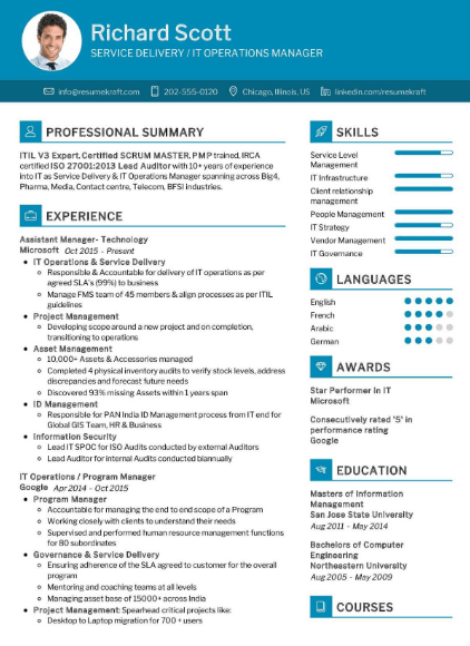 IT Operations Manager Resume Sample 4