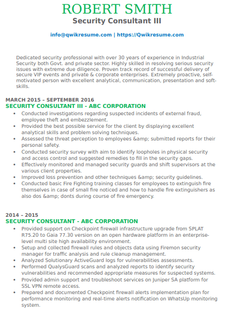 Information Security Consultant Resume Sample 3Information Security Consultant Resume Sample 3