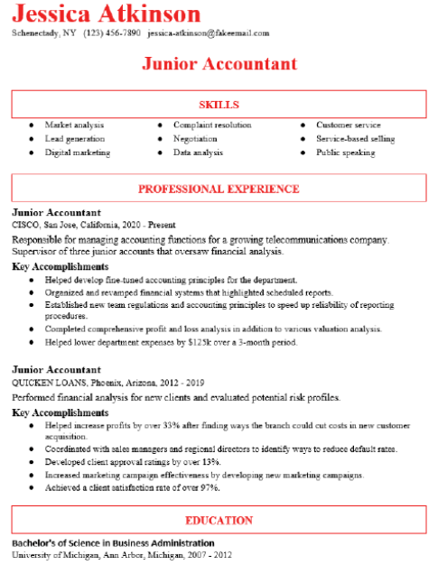 Junior Accountant Resume Sample 2