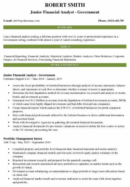 Junior Financial Analyst Resume 1
