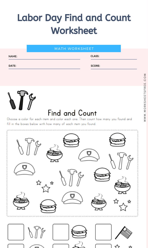 Labor Day Find and Count Worksheet