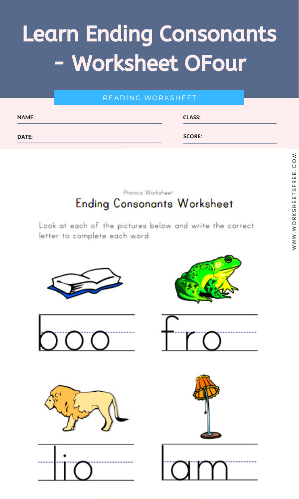 Learn Ending Consonants - Worksheet Four