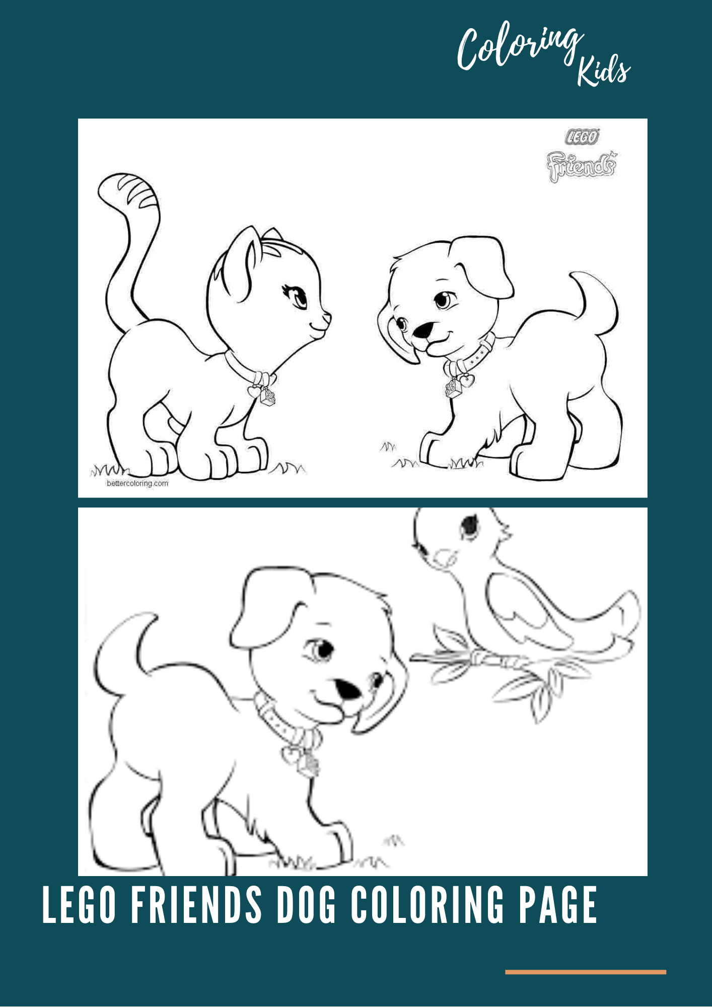 Lego Friends Dog Coloring Page