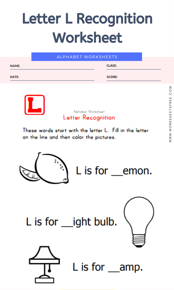 Letter L Recognition Worksheet