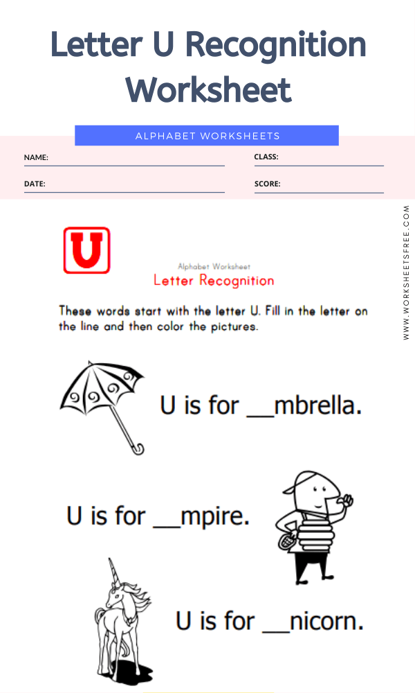 Letter U Recognition Worksheet
