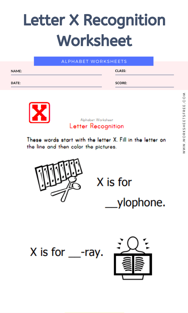 Letter X Recognition Worksheet