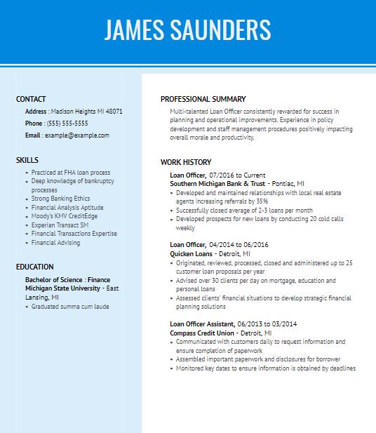 Loan Manager Resume Sample 5
