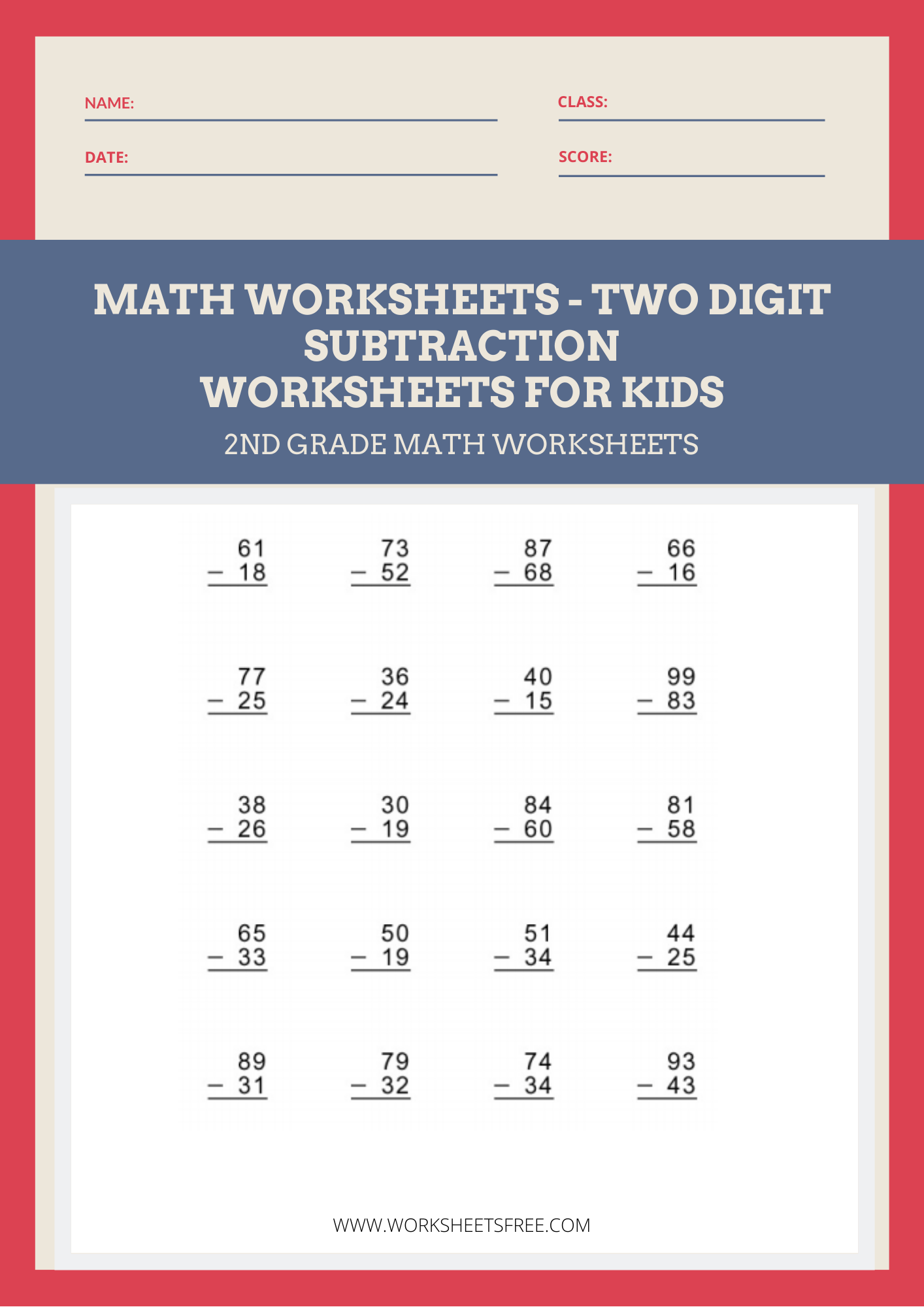 Math Worksheets Two Digit Subtraction