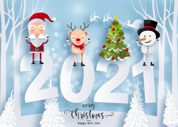 Merry christmas and happy new year 2021 greeting card with happy characters. santa claus, snowman and reindeer Free Vector