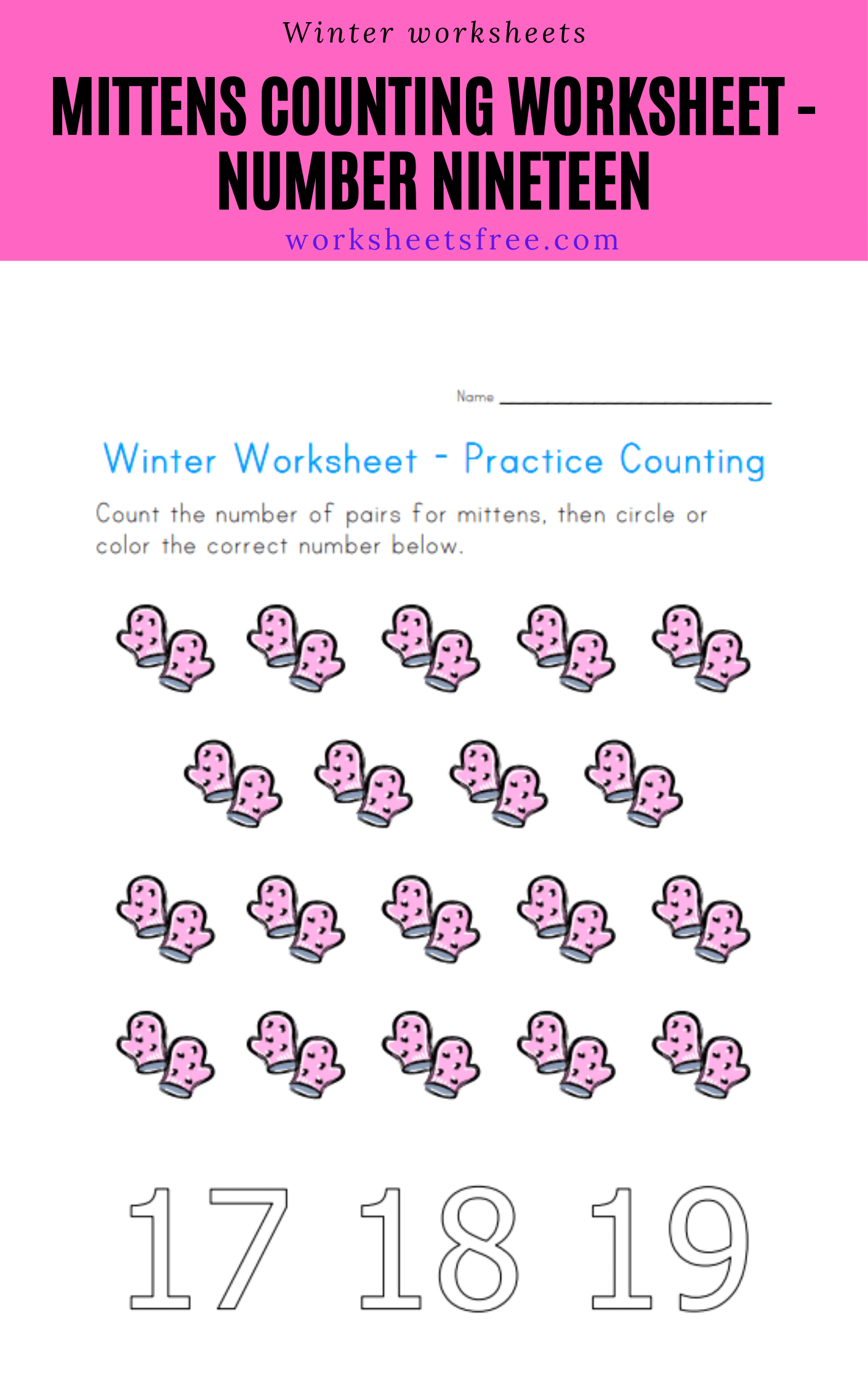 Mittens Counting Worksheet