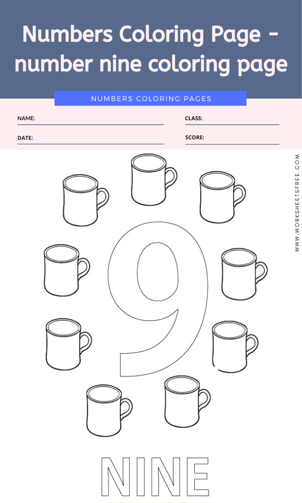 Numbers Coloring Page - number nine coloring page