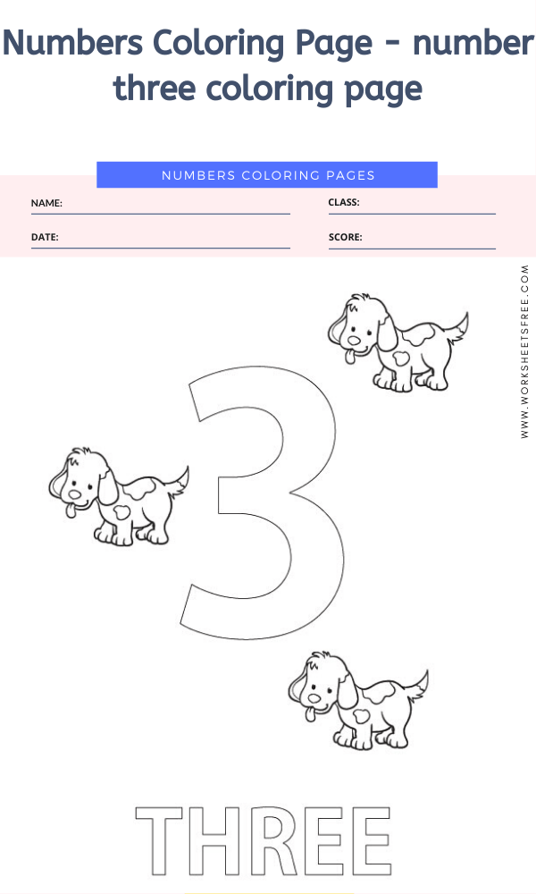 Numbers Coloring Page - number three coloring page