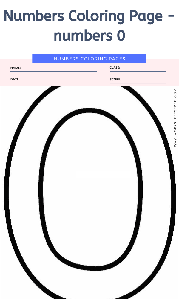 Numbers Coloring Page - numbers 0