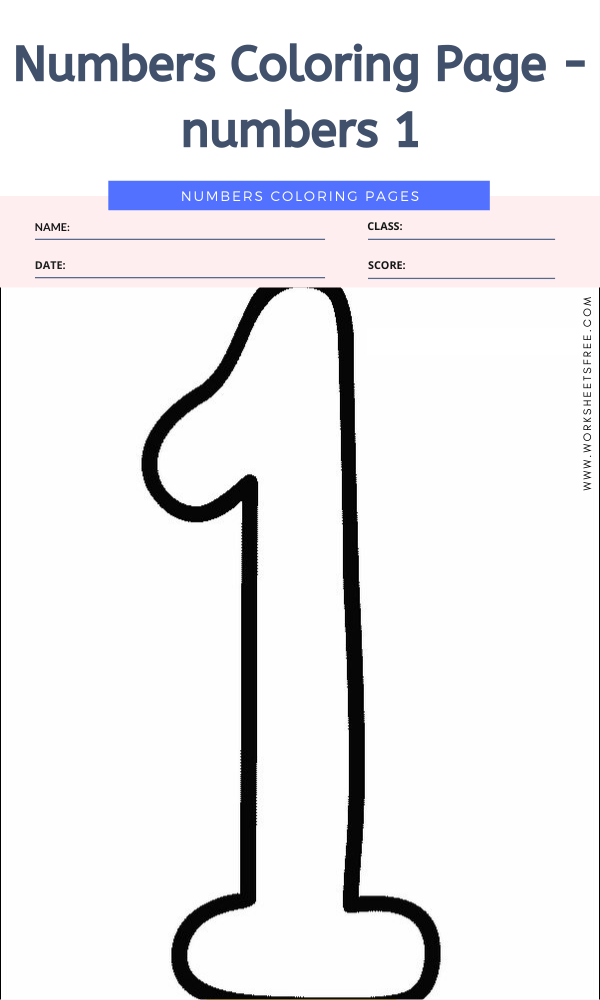 Numbers Coloring Page - numbers 1
